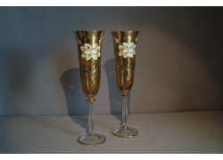 Sklenice na šampaňské, 2 ks, zlacené a dekorované, jantarově žlutá www.sklenenevyrobky.cz