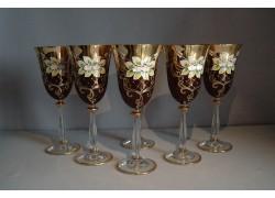 Wine glass, 6 pcs, gilded and enamel, in ruby www.sklenenevyrobky.cz