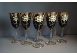 Wine glass, 6 pcs, gilded and enamel, in blue www.sklenenevyrobky.cz