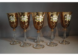 Wine glass, 6 pcs, gilded and enameled, in amber color www.sklenenevyrobky.cz