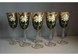 Wine glass, 6 pcs, gilded and enamel, in green www.sklenenevyrobky.cz