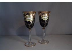 Sklenice pro víno, 2 ks, zlacené a dekorované, modré