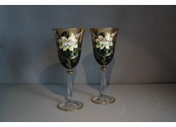 Sklenice na víno, 2 ks, zlacené a dekorované, zelené