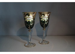 Wine glass, 2 pcs, gilded and decorated, green www.sklenenevyrobky.cz