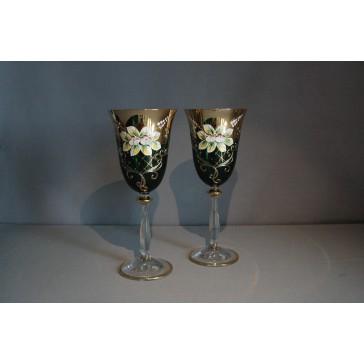 Angela víno 250 ml duo 2 ks smaltovaná a zlacená malachitová zeleň