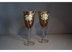 Wine glass, 2 pcs, gilded and decorated, amber yellow www.sklenenevyrobky.cz