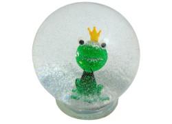 Snow globe frog with the crown www.sklenenevyrobky.cz