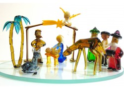 Christmas glass nativity scene with a flying angel