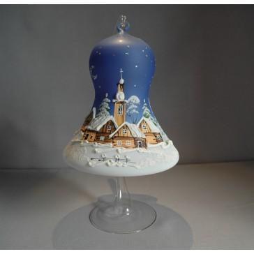 Vánoční zvon na svíčku 150 mm modrý