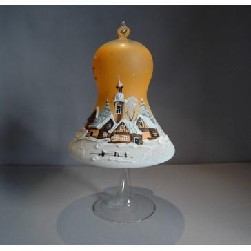 Vánoční zvon na svíčku 150 mm žlutý