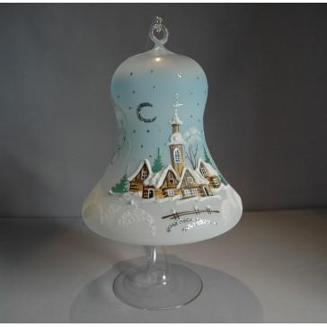 Vánoční zvon na svíčku 150 mm světle modrý