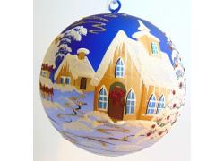 Vánoční koule, 20cm, modrá, s vánočním dekorem www.sklenenevyrobky.cz