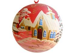 Vánoční koule, 20cm, červená, s vánočním dekorem www.sklenenevyrobky.cz