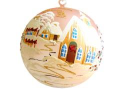 Vánoční koule, 20cm, růžová, s vánočním dekorem www.sklenenevyrobky.cz
