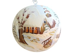 Christmas ball with Christmas painting 20 cm www.sklenenevyrobky.cz