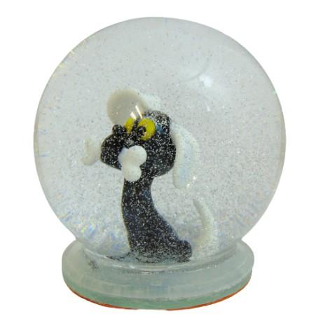 Sněžící koule pes s kostí www.sklenenevyrobky.cz