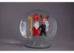 Sněźící koule Mikuláš s čertíkem cca 120 mm