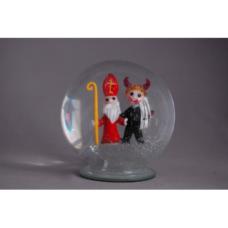 Sněźící koule Mikuláš s čertem120 mm