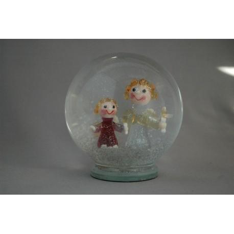 Sněźící koule Andílci 12 cm