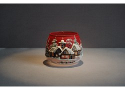 Vánoční sklenička na svíčku, v červeném odstínu
