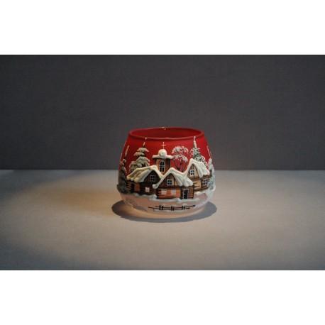 Vánoční sklenička na svíčku I. 8cm grafika červená