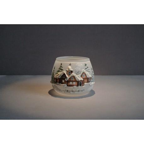 Vánoční sklenička na svíčku I. 8cm grafika bílá