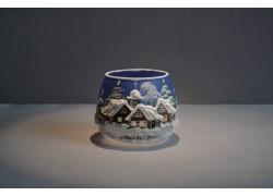 Vánoční sklenička na svíčku I. 8cm grafika modrá