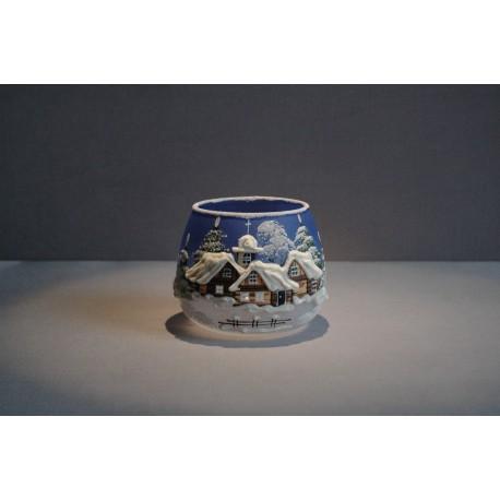 Vánoční sklenice na svíčku, v modré barvě www.sklenenevyrobky.cz