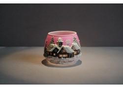 Vánoční sklenička na svíčku I. 8cm grafika růžová