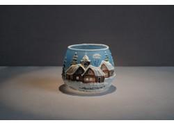 Vánoční sklenička na svíčku I. 8cm grafika světle modrá