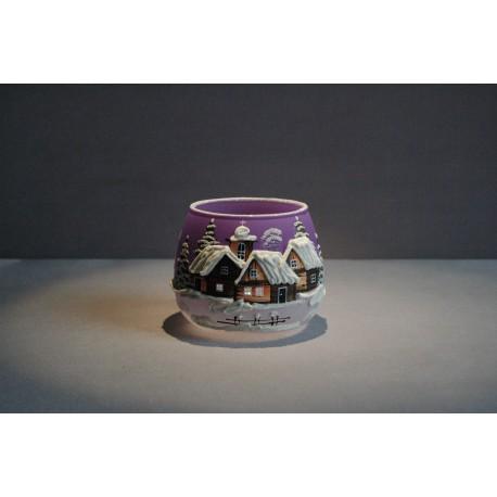 Vánoční sklenička na svíčku I. 8cm grafika fialová