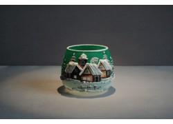Vánoční sklenička na svíčku I. 8cm grafika zelená