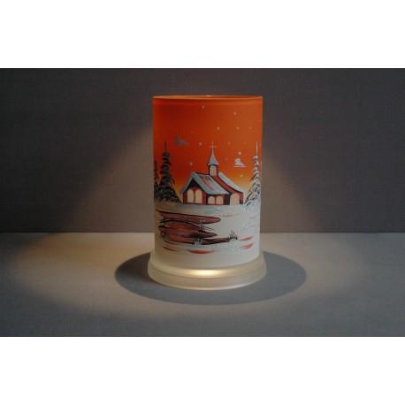 Svícen válec oranžový vysoký 17cm průměr 10cm