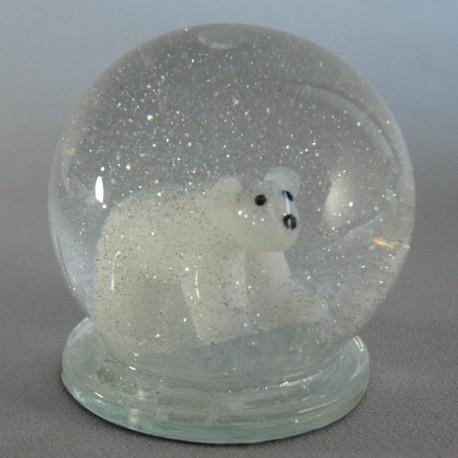 Sněžící koule s ledním medvědem www.sklenenevyrobky.cz