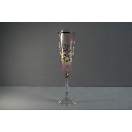 Výroční sklenička Angela - flétna 35 (190ml růžová)