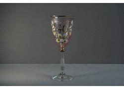 Jubilejní sklenice na víno Angela 40 let (250ml růžová)
