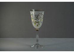 Jubilee wine glas Angela 50 years white www.sklenenevyrobky.cz