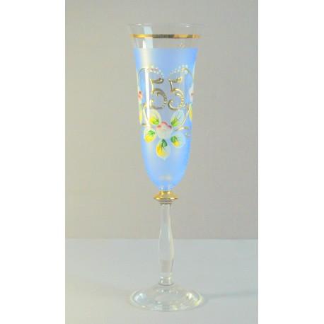 Výroční sklenička Angela - flétna 55 let (190ml modrá) www.sklenenevyrobky.cz