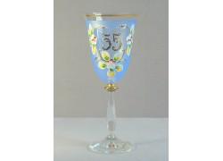 Výroční sklenička Angela 55 let (250ml modrá) www.sklenenevyrobky.cz