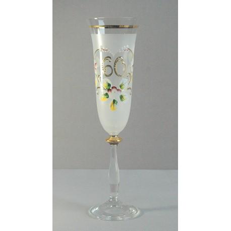 Výročný pohár Angela - flauta 60 rokov biela www.sklenenevyrobky.cz