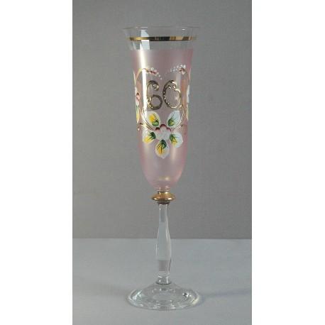 Výroční sklenička Angela - flétna 60 (190ml růžová)
