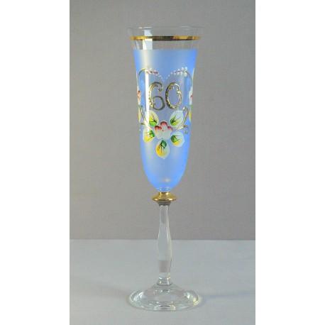 Výročný pohár Angela flauta 60 rokov modrá www.sklenenevyrobky.cz