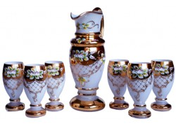 Beer set pitcher and 6 glasses gilded and enameled www.sklenenevyrobky.cz