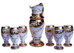 Bierkrug und 6 Gläser vergoldet und emailliert www.sklenenevyrobky.cz