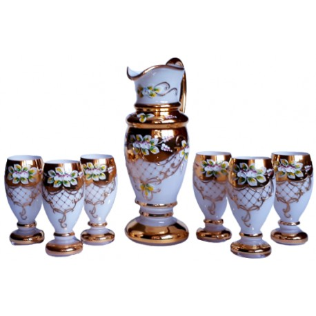 Beer set pitcher and 6 glasses gilded and enameled www.sklenenevyrobky.cz