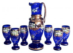 Pitcher and 6 glasses gilded and enameled www.sklenenevyrobky.cz