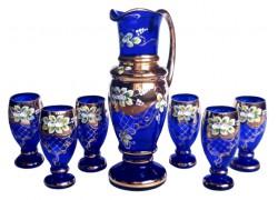Krug und 6 Gläser vergoldet und emailliert www.sklenenevyrobky.cz