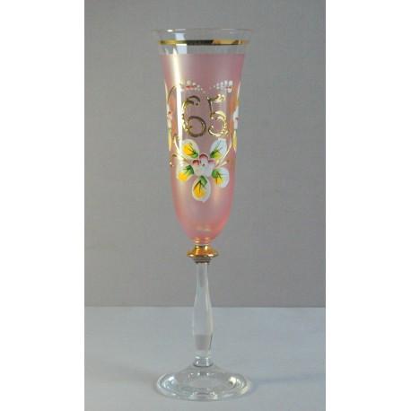 Výročný pohár Angela flauta 65 rokov ružová www.sklenenevyrobky.cz