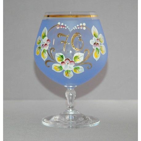 Výroční sklenička Carmen 70 (400ml modrá) www.sklenenevyrobky.cz