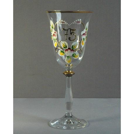 Výroční sklenička Angela 75 let (250ml crystal) www.sklenenevyrobky.cz